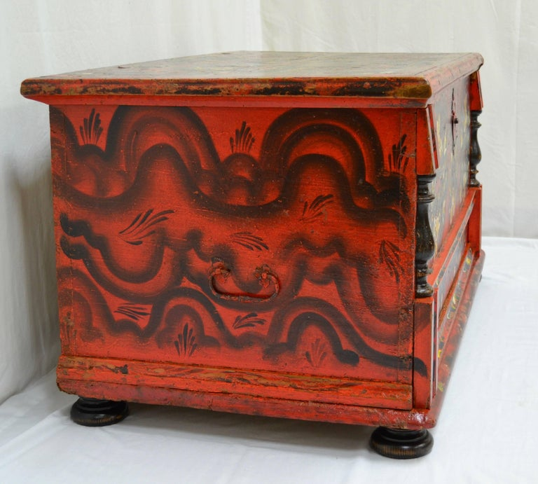 Hungarian Pine Trunk or Blanket Chest in Original Paint In Good Condition For Sale In Kensington, MD