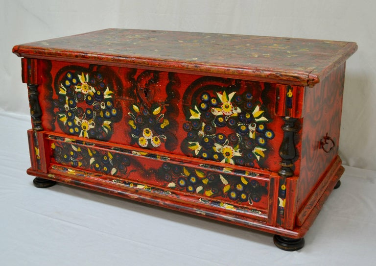 19th Century Hungarian Pine Trunk or Blanket Chest in Original Paint For Sale
