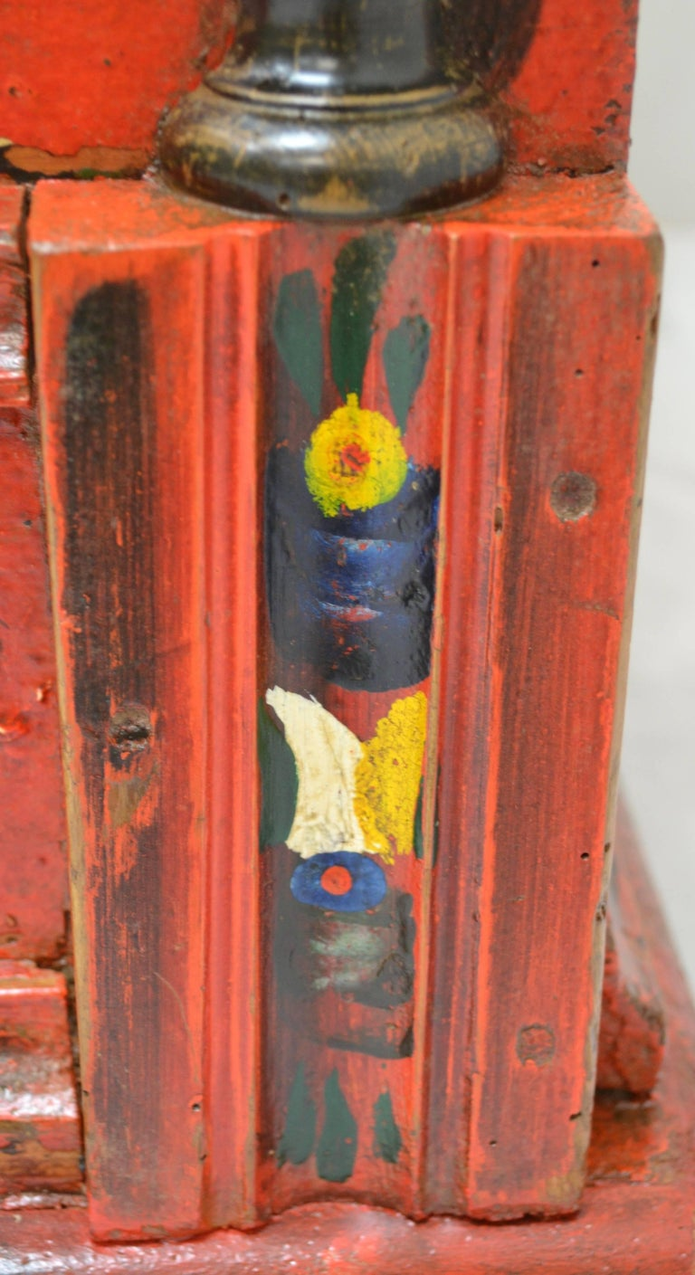 Hungarian Pine Trunk or Blanket Chest in Original Paint For Sale 5