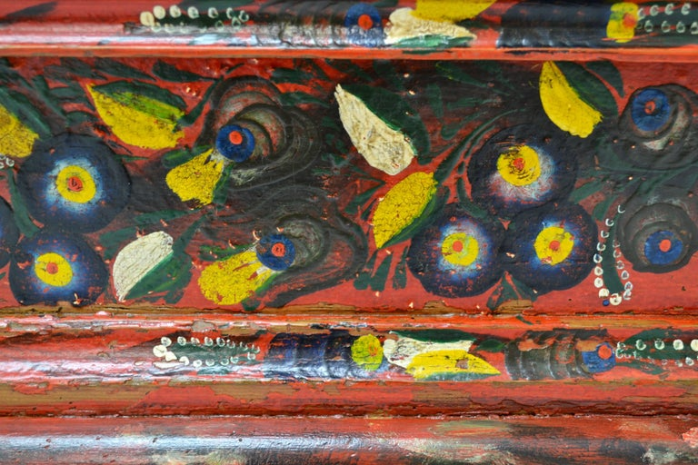Hungarian Pine Trunk or Blanket Chest in Original Paint For Sale 6