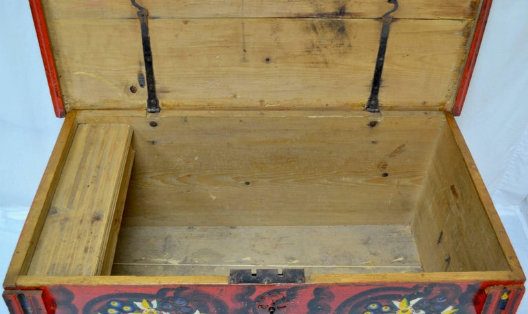 Hungarian Pine Trunk or Blanket Chest in Original Paint For Sale 8