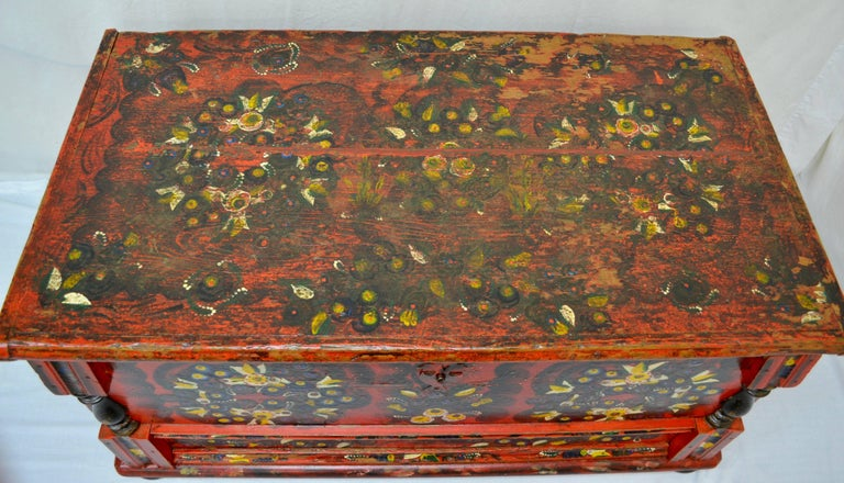 Hungarian Pine Trunk or Blanket Chest in Original Paint For Sale 10
