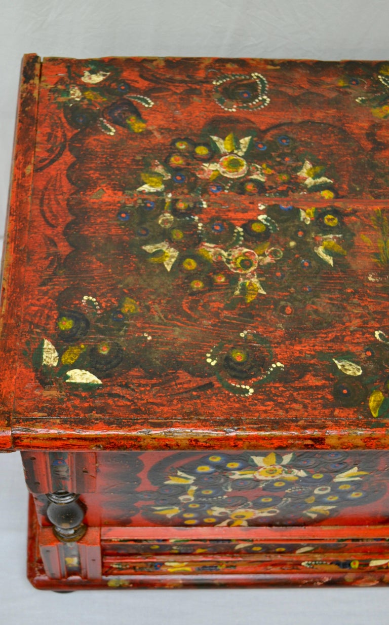Hungarian Pine Trunk or Blanket Chest in Original Paint For Sale 12