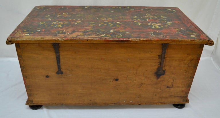 Hungarian Pine Trunk or Blanket Chest in Original Paint For Sale 15