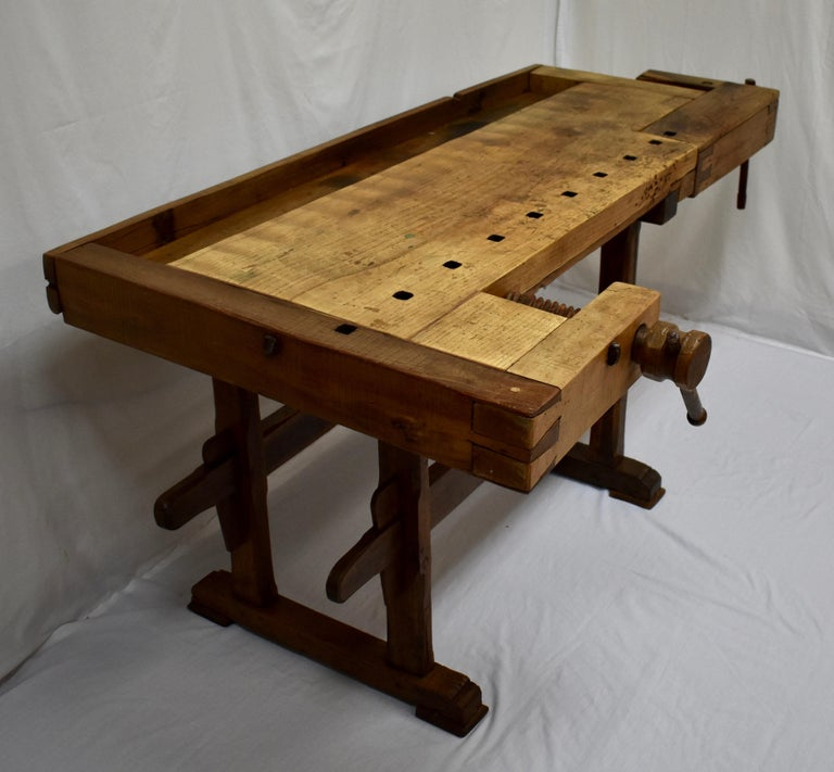 Hungarian Oak Carpenter's and Joiner's Work Bench For Sale