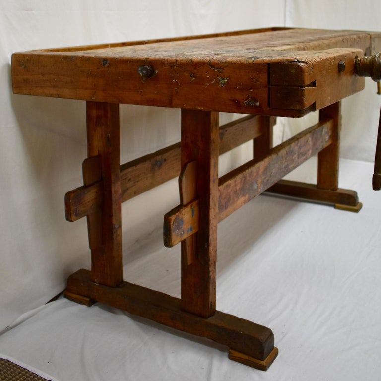 European Oak Carpenter's and Joiner's Work Bench For Sale
