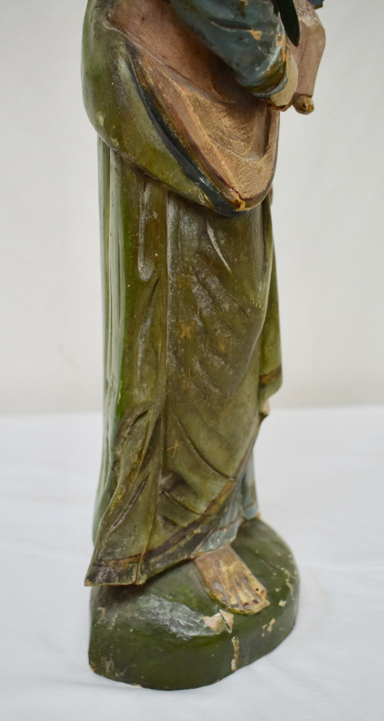 Hand Carved Wooden Sculpture of Saint Anthony of Padua For Sale 1