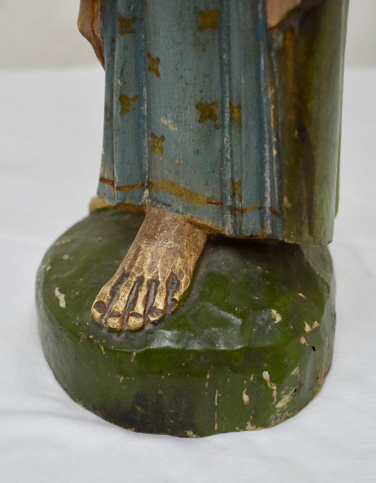 Hand Carved Wooden Sculpture of Saint Anthony of Padua For Sale 7