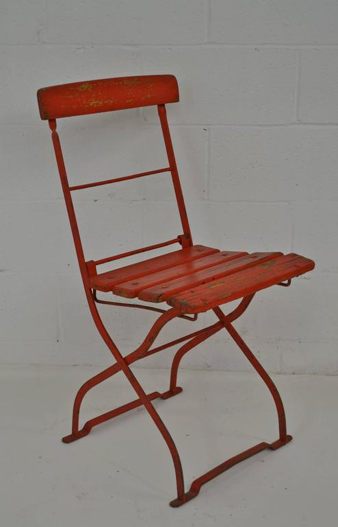 German Vintage Iron and Oak Folding Bistro Chair For Sale