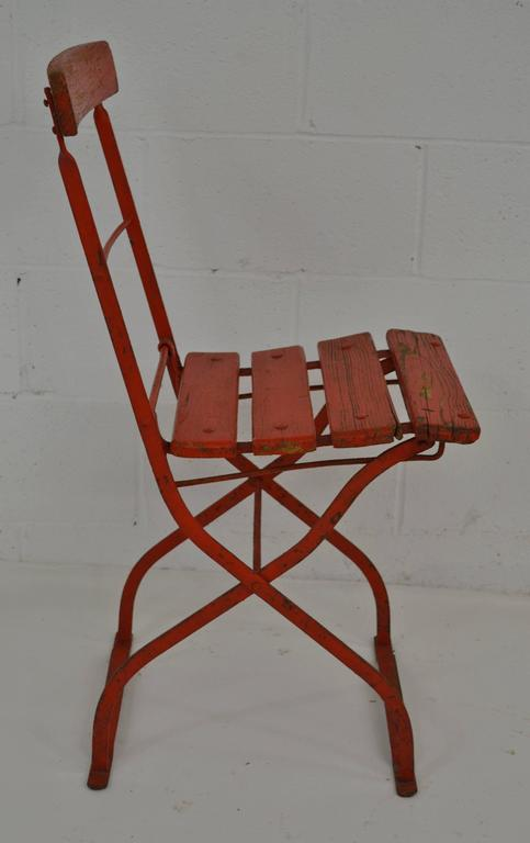 Painted Vintage Iron and Oak Folding Bistro Chair For Sale