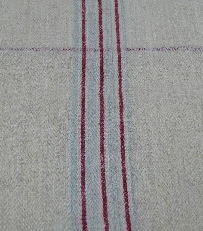 Antique European Hemp Grain Sack Beautiful Magenta Stripes High Quality Materials Antiques