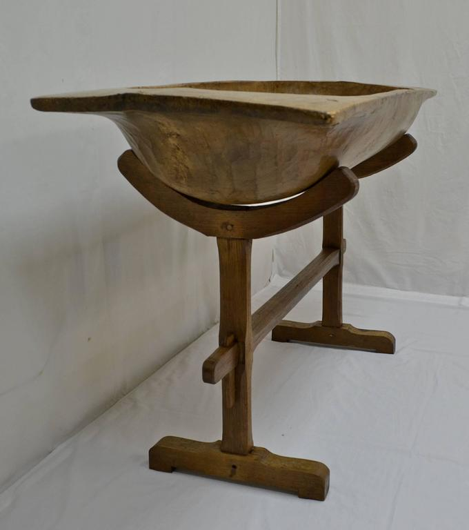 Huge Fruitwood Trog Or Dough Bowl With Oak Stand At 1stdibs