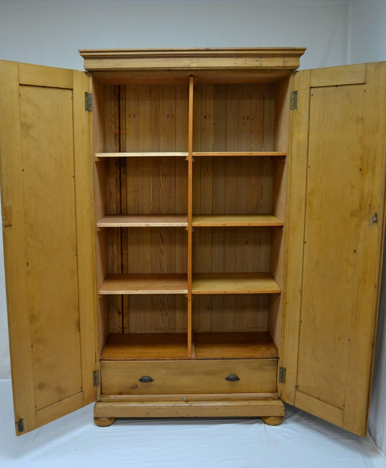 english two door pine armoire for sale at 1stdibs. Black Bedroom Furniture Sets. Home Design Ideas