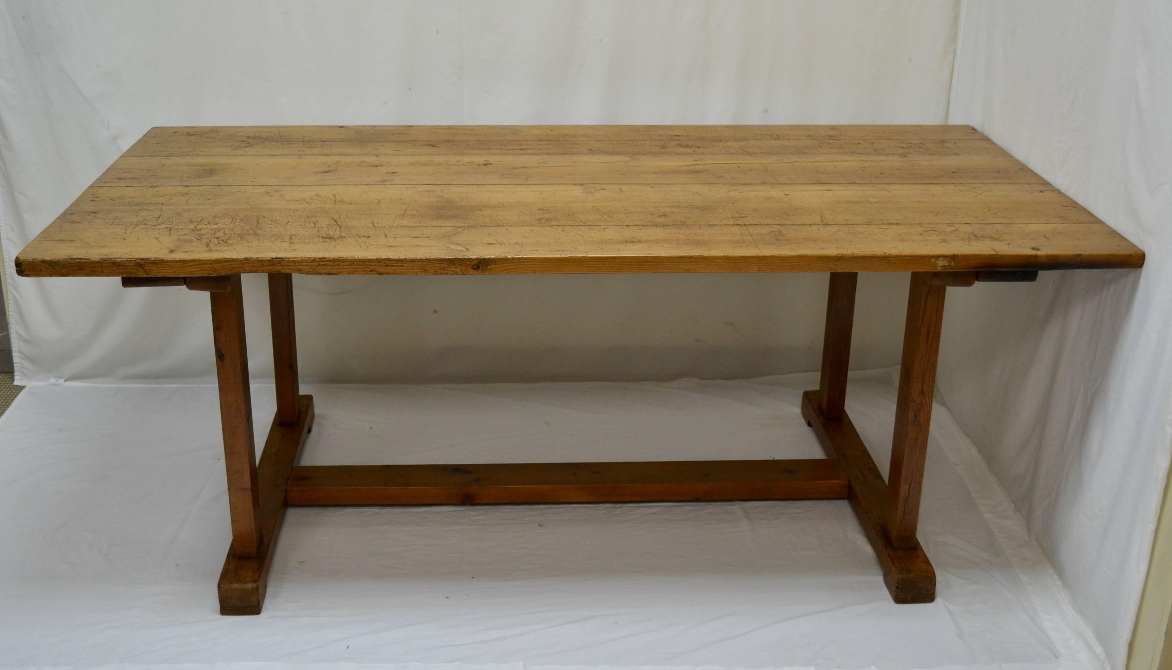 This Piece Was Originally A Work Table, With A Heavy Stretcher Joining The  Trestle Ends