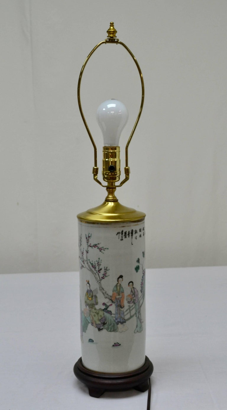 Contemporary Chinese Porcelain Hat Stand Table Lamp For Sale