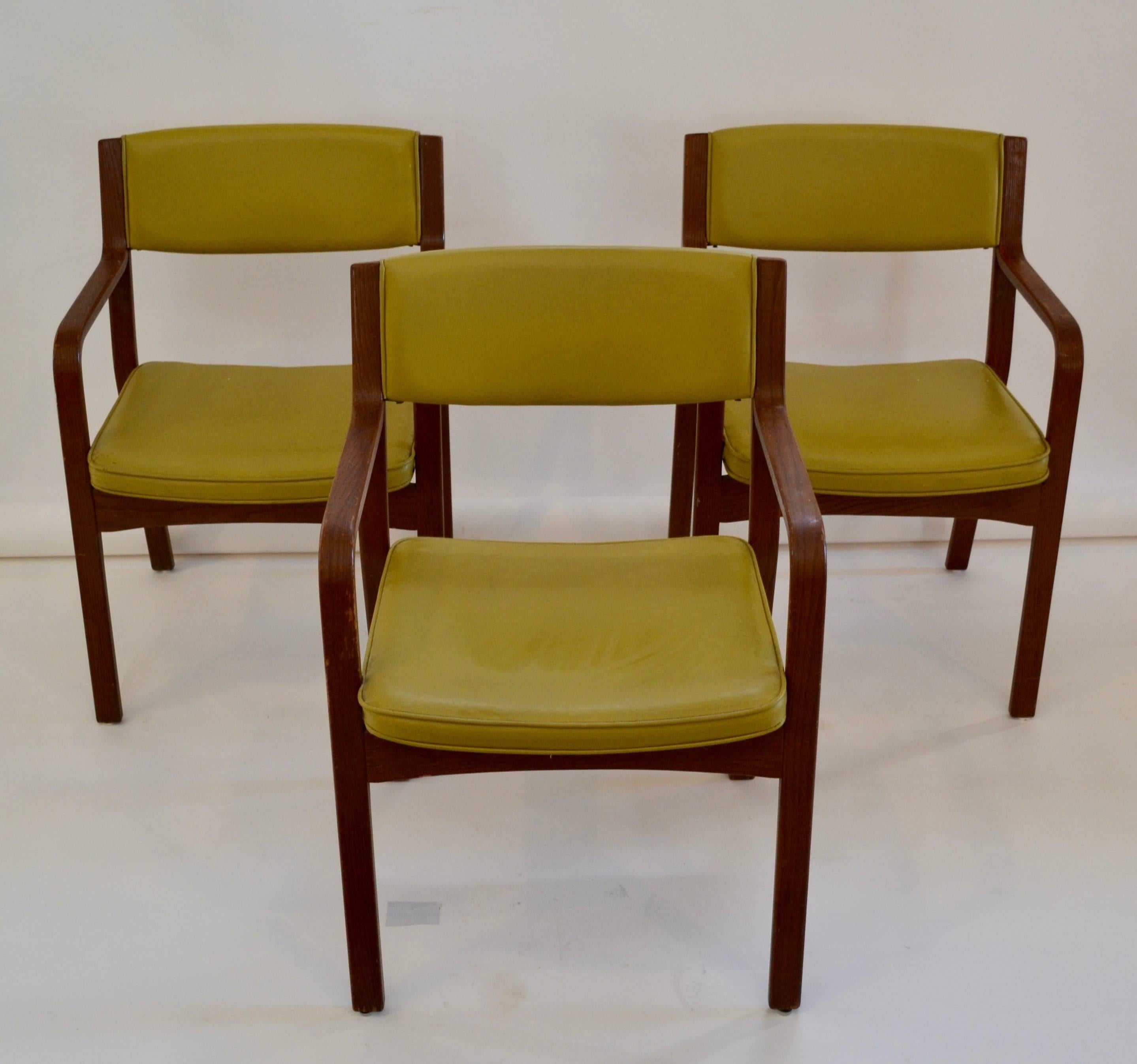 Set Of Four Vinyl And Bentwood Thonet Armchairs With Original Finish And  Green Upholstery. These