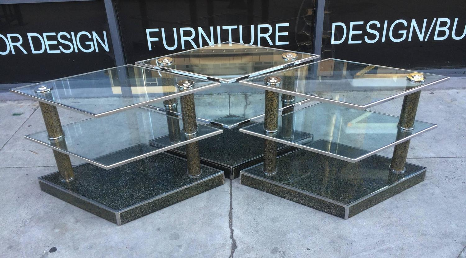 Vintage Modular Coffee Table In Glass And Chrome For Sale At 1stdibs