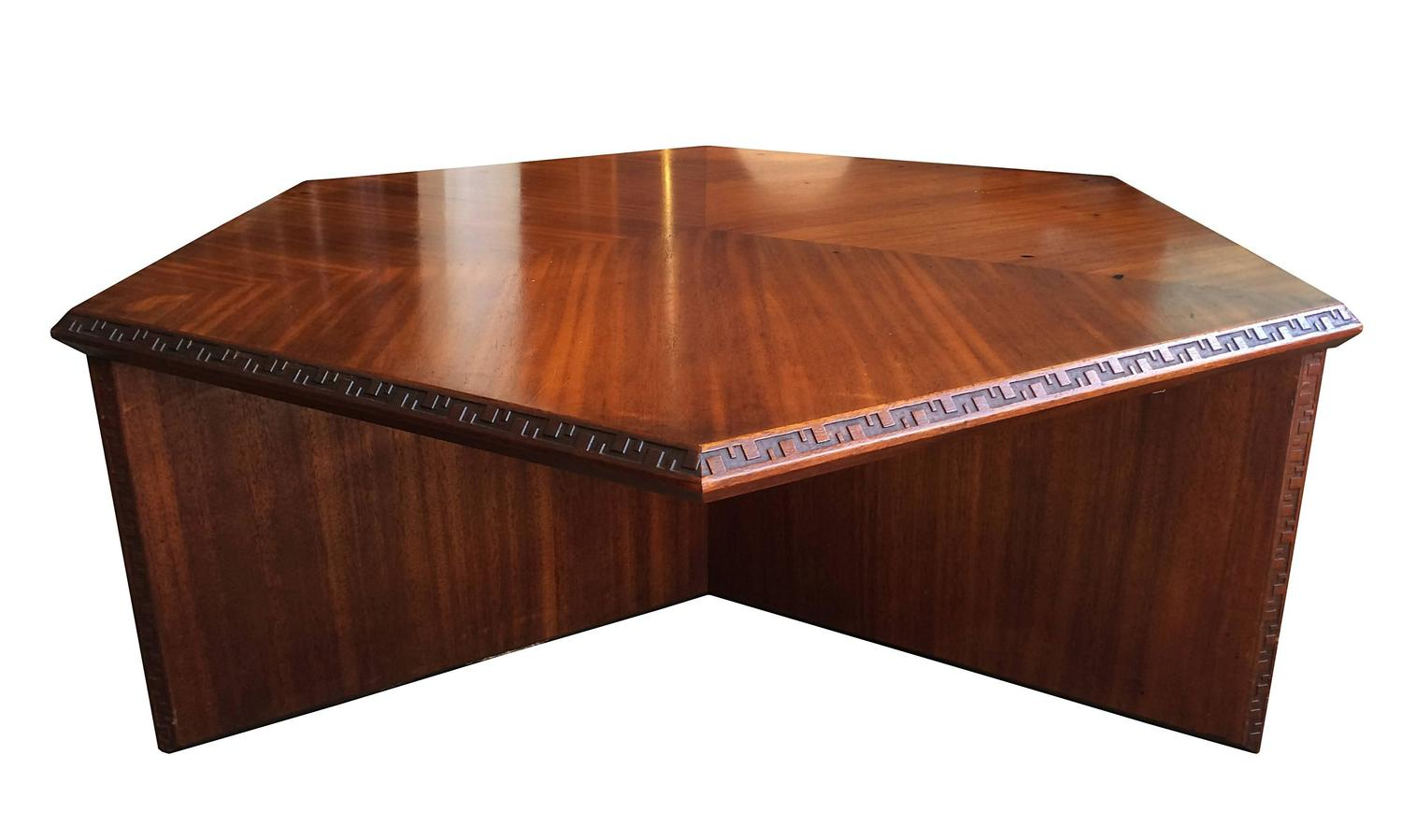 Mid Century Modern Coffee Table With Greek Key Detail By Frank Lloyd Wright For Sale At 1stdibs