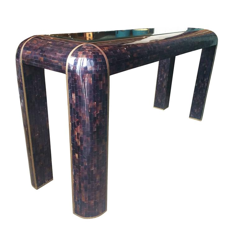 Vintage Horn-Brass and Glass Sofa/Console Table in the Style of Karl Springer