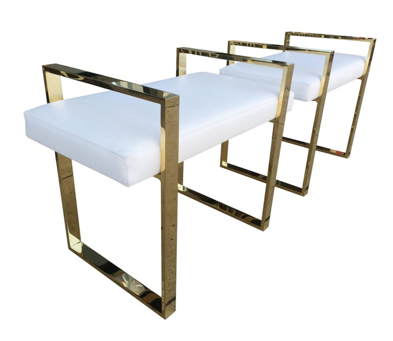 Pair of Charles Hollis Jones Benches in Polished Brass For Sale