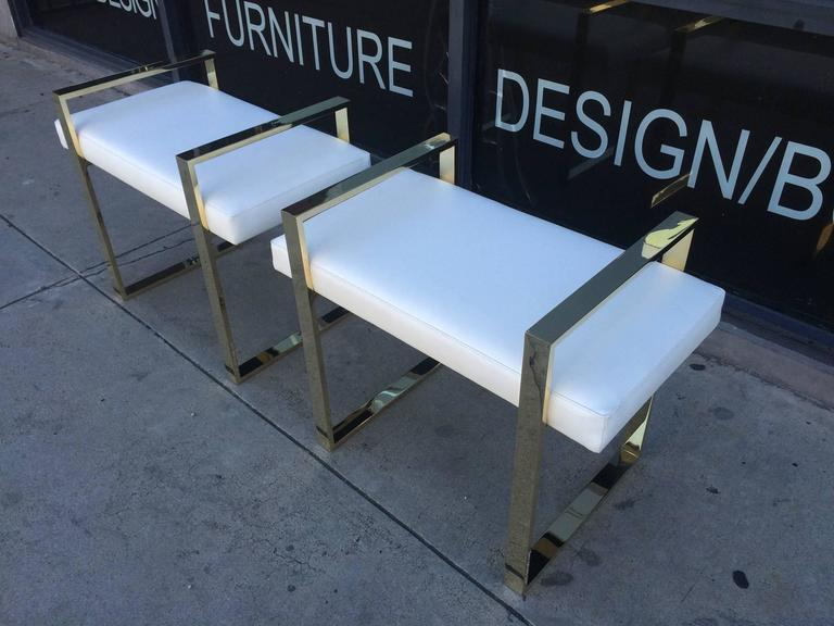 Pair of Charles Hollis Jones Benches in Polished Brass In Excellent Condition For Sale In Los Angeles, CA