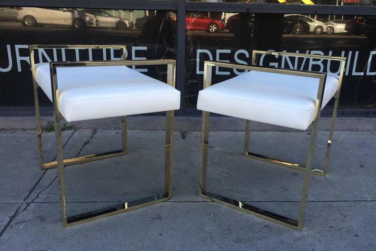 Late 20th Century Pair of Charles Hollis Jones Benches in Polished Brass For Sale