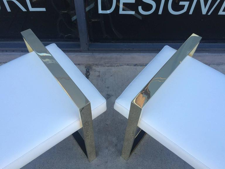 Pair of Charles Hollis Jones Benches in Polished Brass For Sale 1