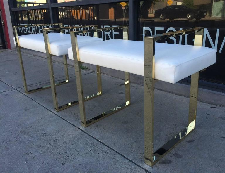Pair of Charles Hollis Jones Benches in Polished Brass For Sale 2