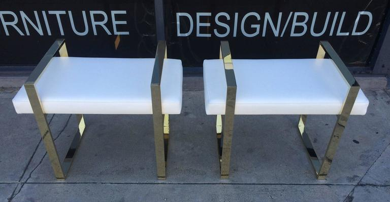 Pair of Charles Hollis Jones Benches in Polished Brass For Sale 3
