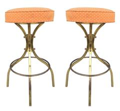"Pair of ""Sinatra"" Brass Bar Stools with Swivel Mechanism by Charles Hollis Jones"