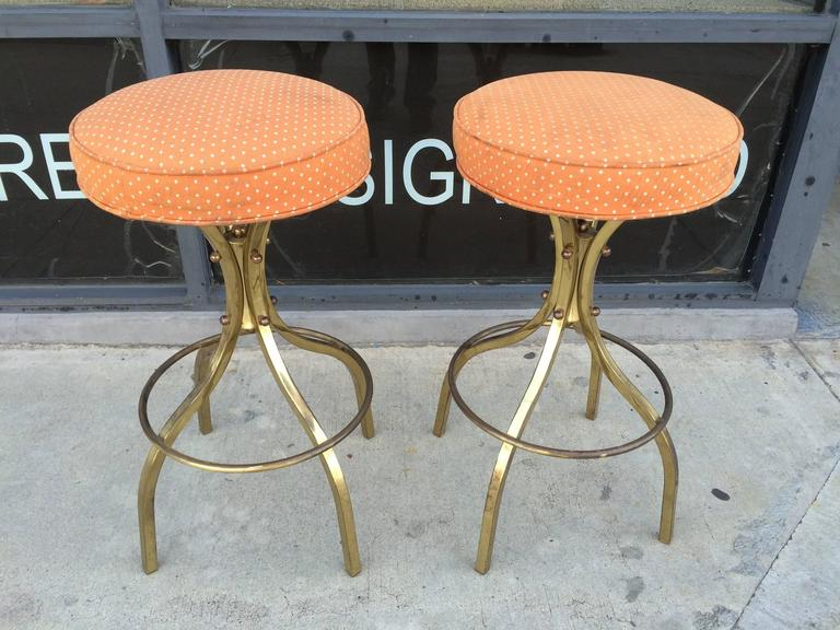Pair Of Quot Sinatra Quot Brass Bar Stools With Swivel Mechanism