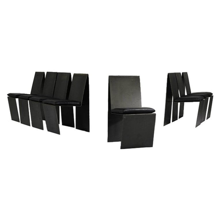 Set of Eight Anodized Steel & Leather Dining Chairs For Sale