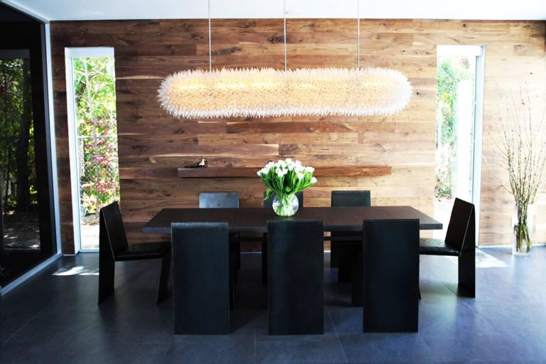American; Set of eight dining chairs in anodized steel and leather seats. The chairs are made to order by Cain Modern, they are made in solid steel with an anodized finish and leather seats, the chairs can also be made in solid brass, stainless