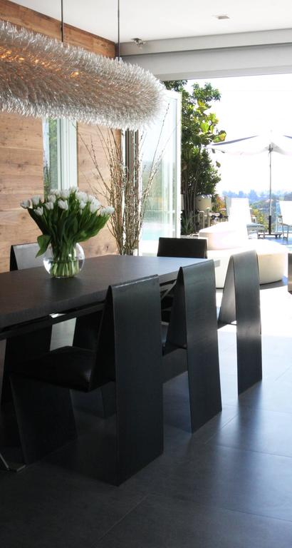 Modern Set of Eight Anodized Steel & Leather Dining Chairs For Sale
