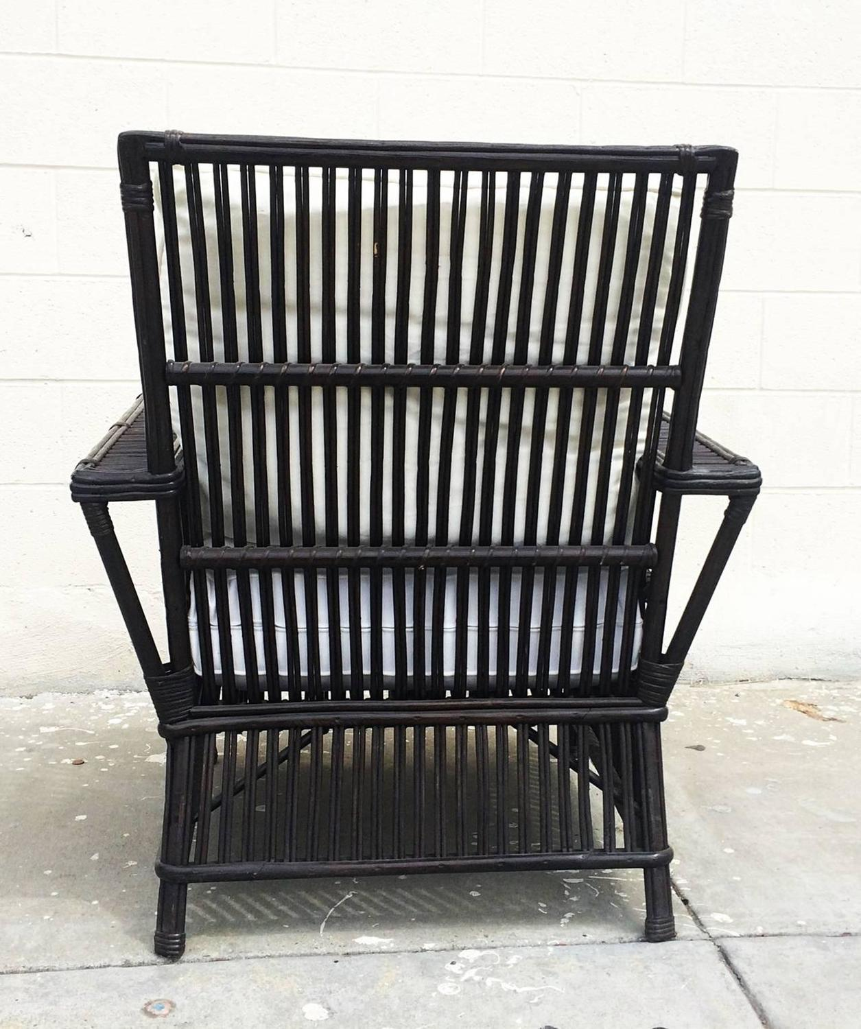 Wicker or Bamboo Patio Chairs Upholstered in White Canvas ...