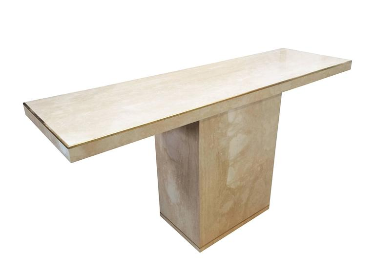 Mid-Century Modern Travertine and Brass Console Table by Cain Modern For Sale