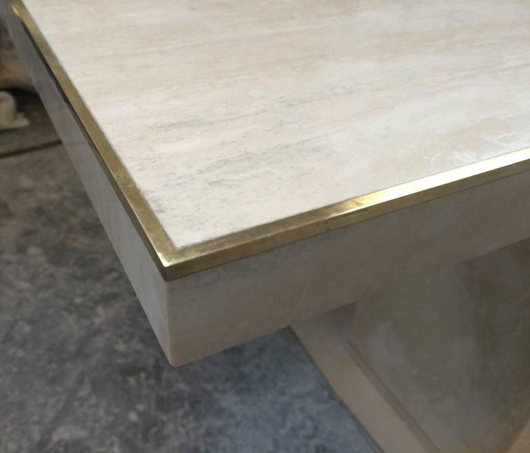 American Travertine and Brass Console Table by Cain Modern For Sale