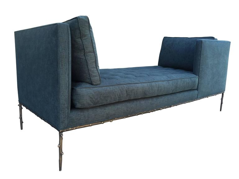 Stunning and beautiful Tête–à–tête daybed with solid bronze base designed and manufactured by Amparo Calderon Tapia for Cain Modern.