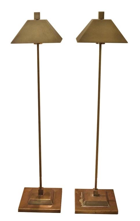 Fantastic pair of solid brass floor lamps manufactured by Hart Associates in the 1960s.