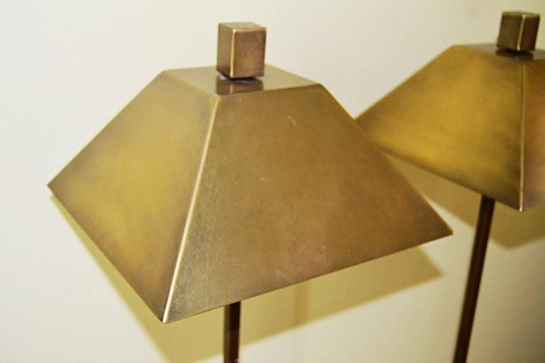 American Pair of Hart Associates, Solid Brass Floor Lamps For Sale