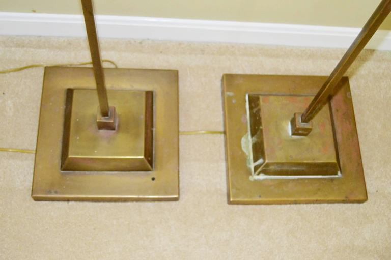 Pair of Hart Associates, Solid Brass Floor Lamps In Good Condition For Sale In Los Angeles, CA