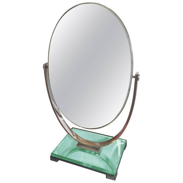 Charles Hollis Jones Vanity Mirror in Polished Nickel and Lucite