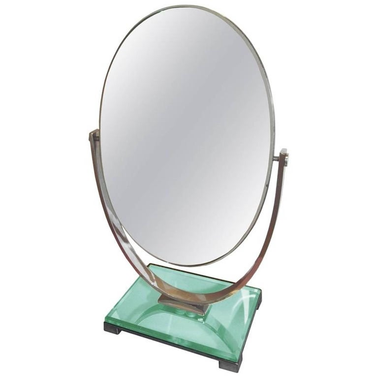 Charles Hollis Jones Vanity Mirror in Polished Nickel and Lucite For Sale