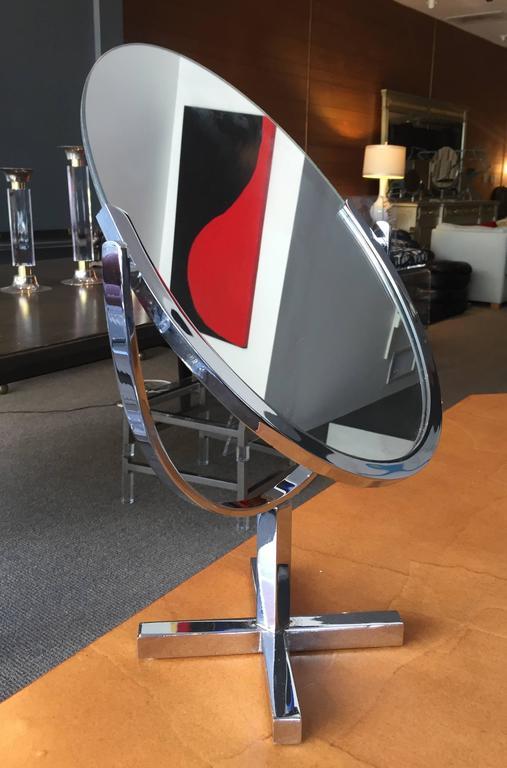 Mid-Century Modern Charles Hollis Jones X-Base Vanity Mirror in Chrome For Sale