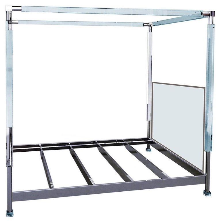 """Charles Hollis Jones """"Stallone"""" Bed in Lucite and Nickel For Sale"""