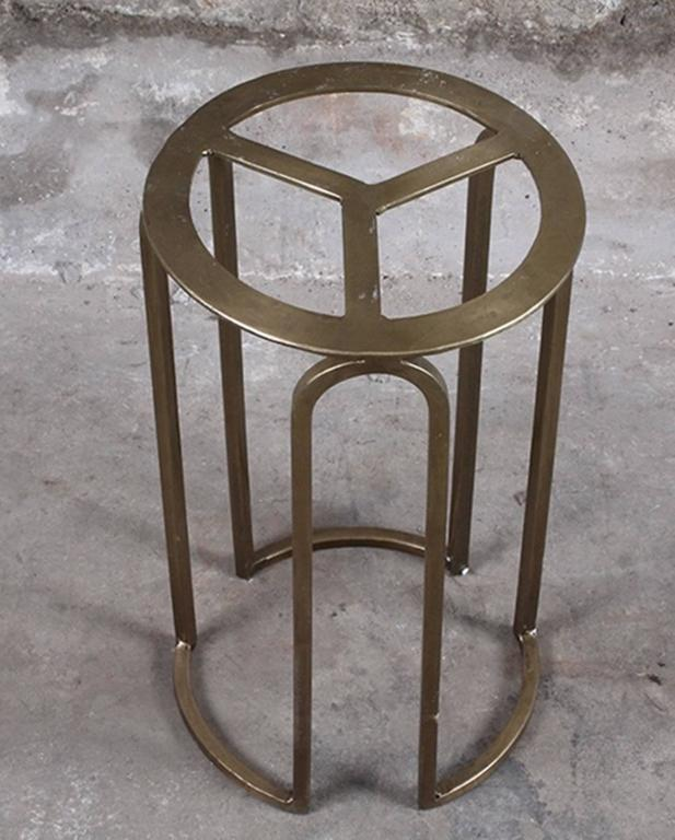 Custom Petrified Wood and Brass Accent Table In Good Condition For Sale In Los Angeles, CA