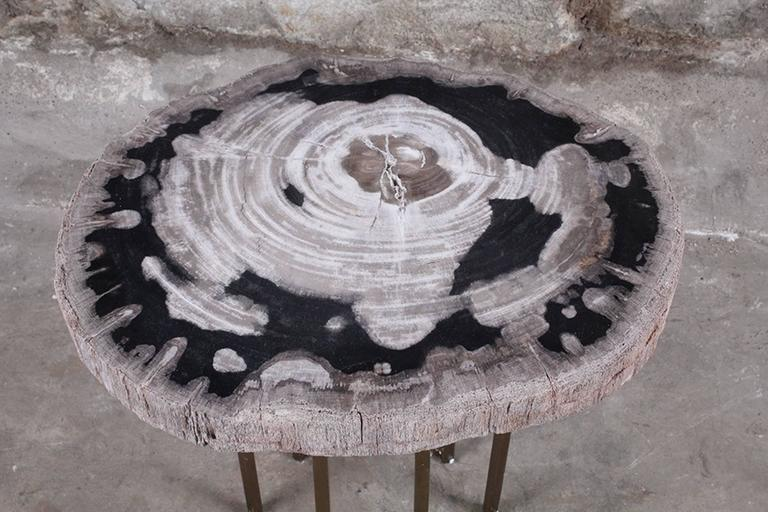 Contemporary Custom Petrified Wood and Brass Accent Table For Sale