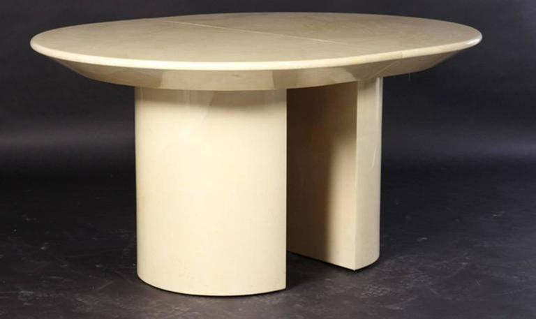Mid-Century Modern 1970's Extension Table in Lacquered Faux Goatskin by Karl Springer