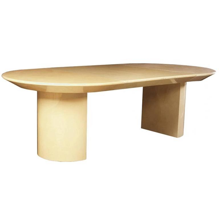 1970s Extension Table in Lacquered Goatskin by Karl Springer