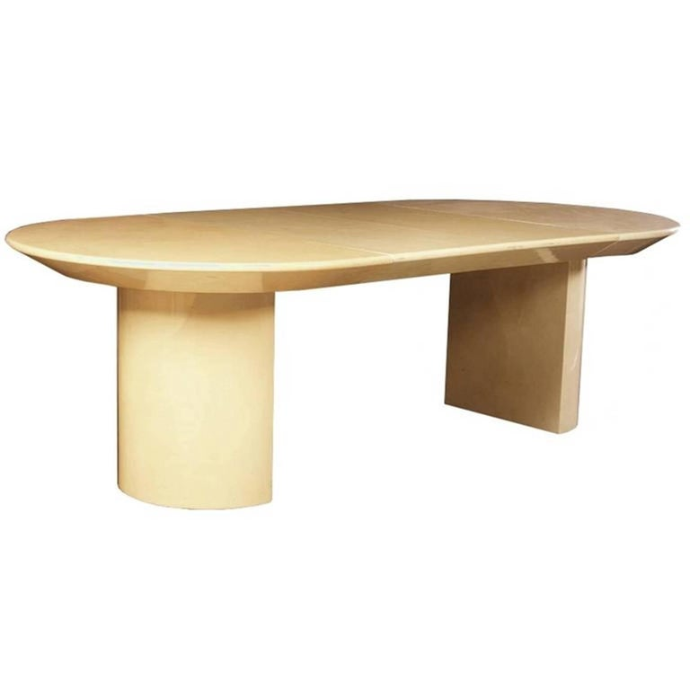 1970's Extension Table in Lacquered Faux Goatskin by Karl Springer